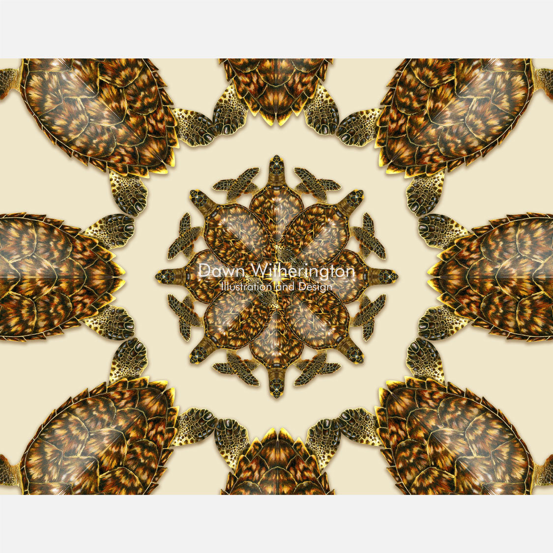 This beautiful design is of a kaleidoscopic graphic of hawksbill sea turtles, Eretmochelys imbricata.