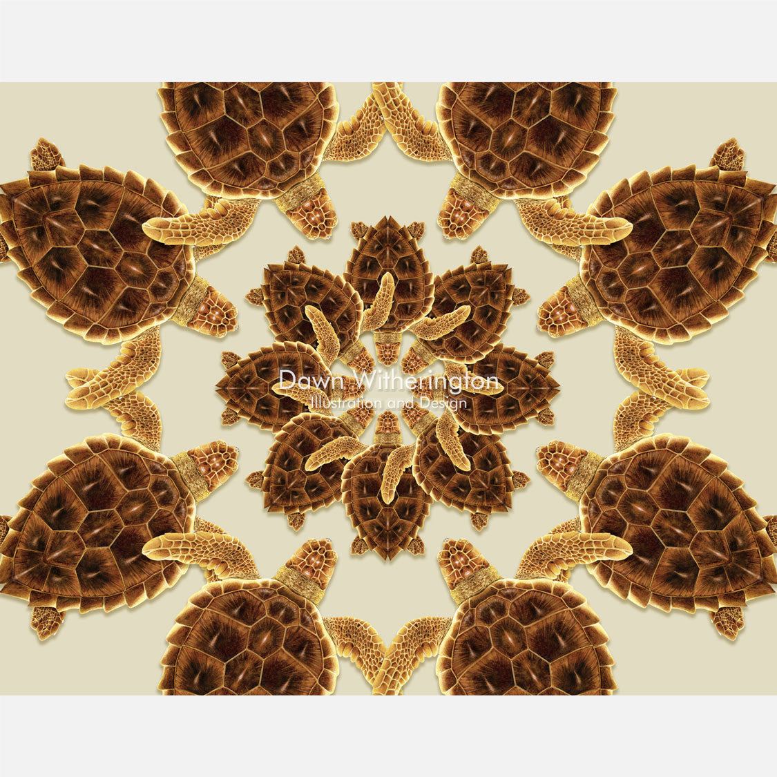 This beautiful design is of a kaleidoscopic graphic of loggerhead sea turtles, Caretta caretta.