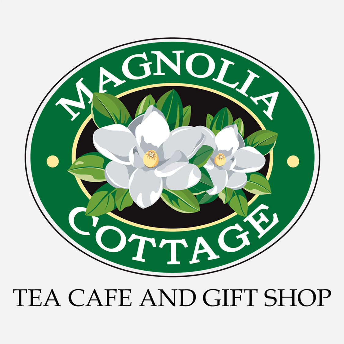 Magnolia Cottage logo, Eau Gallie, Florida. The logo is a graphic depiction of a trio of magnolias