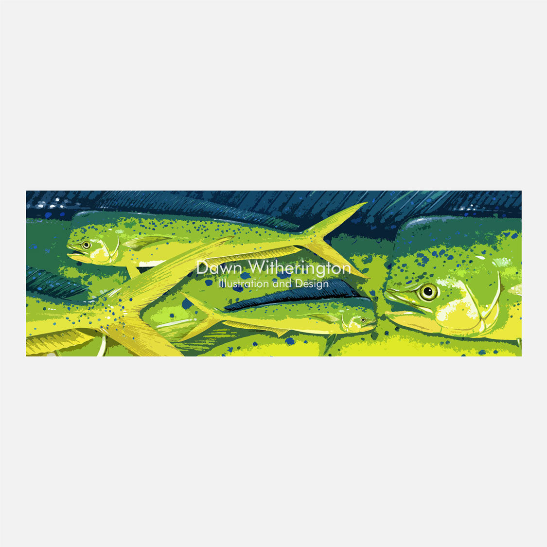 This colorful design is a stylized group of dolphinfish, Coryphaena hippurus.