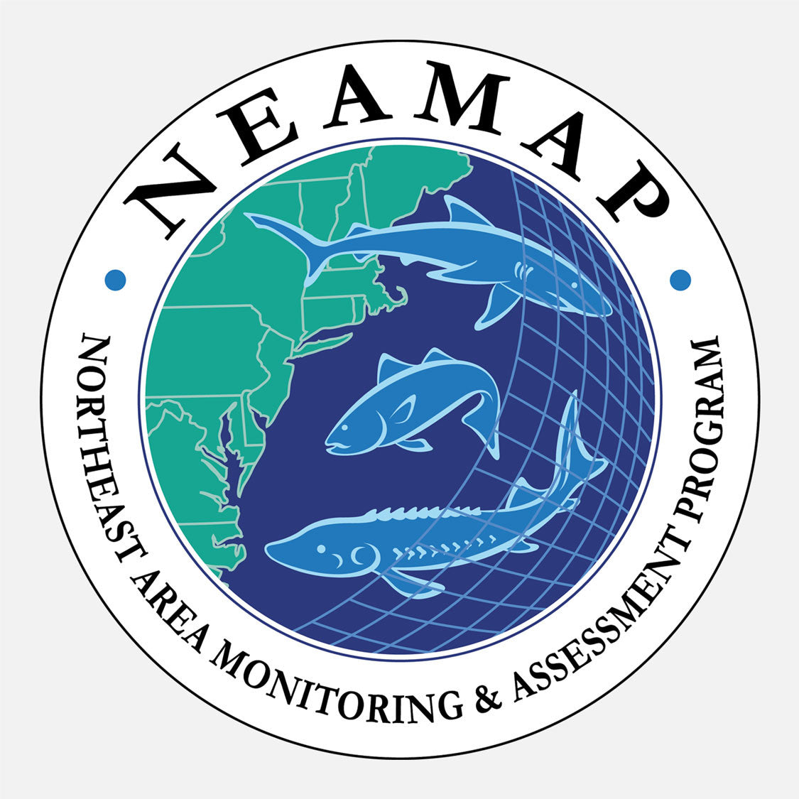 NEAMAP (Northeast Area Monitoring and Assessment Program) is an integrated, cooperative state/federal data collection program. The logo is a graphic of three fish over a net and the northeast coast of the US.