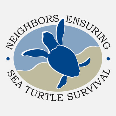 NESTS - Neighbors Ensuring Sea Turtle is a free, community-based educational outreach program that encourages the public and businesses to engage in simple activities that benefit nesting sea turtles, their nests, and their hatchlings. The logo is a graphic of a hatchling sea turtle entering the water.