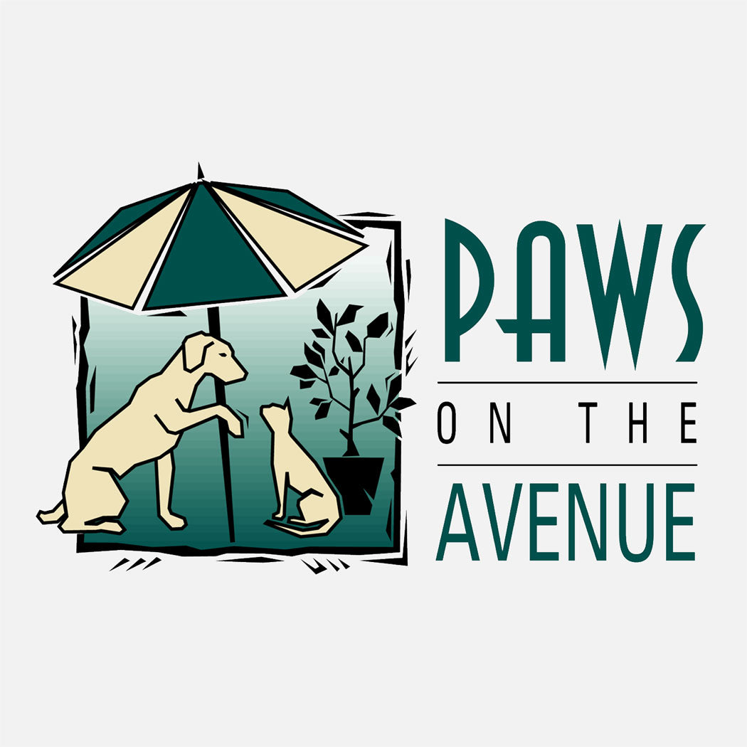 Paws on the Avenue is a pet store specializing in natural pet food, gifts, and accessories. The logo is a graphic of a dog and a cat in an outdoor cafe setting.