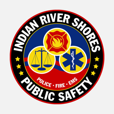 Public safety logo for Indian River County, Florida. The logo is a graphic that contains judicial, fire, and medical logos.