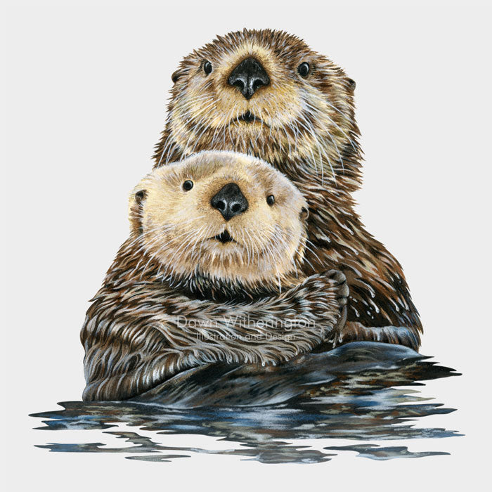 This cute illustration is of a mother sea otter (Enhydra lutris) with her pup.