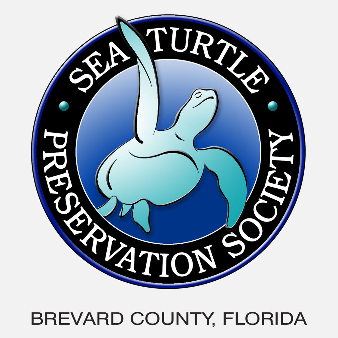 The society's goal is to help maintain the current sea turtle population and to prevent a potentially irreversible decline in that population. The logo is a graphic of a swimming sea turtle.