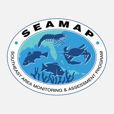 SEAMAP (Southeast Area Monitoring and Assessment Program) is an integrated, cooperative state/federal data collection program. The logo is a graphic of several marine species over a map of the southeastern US.