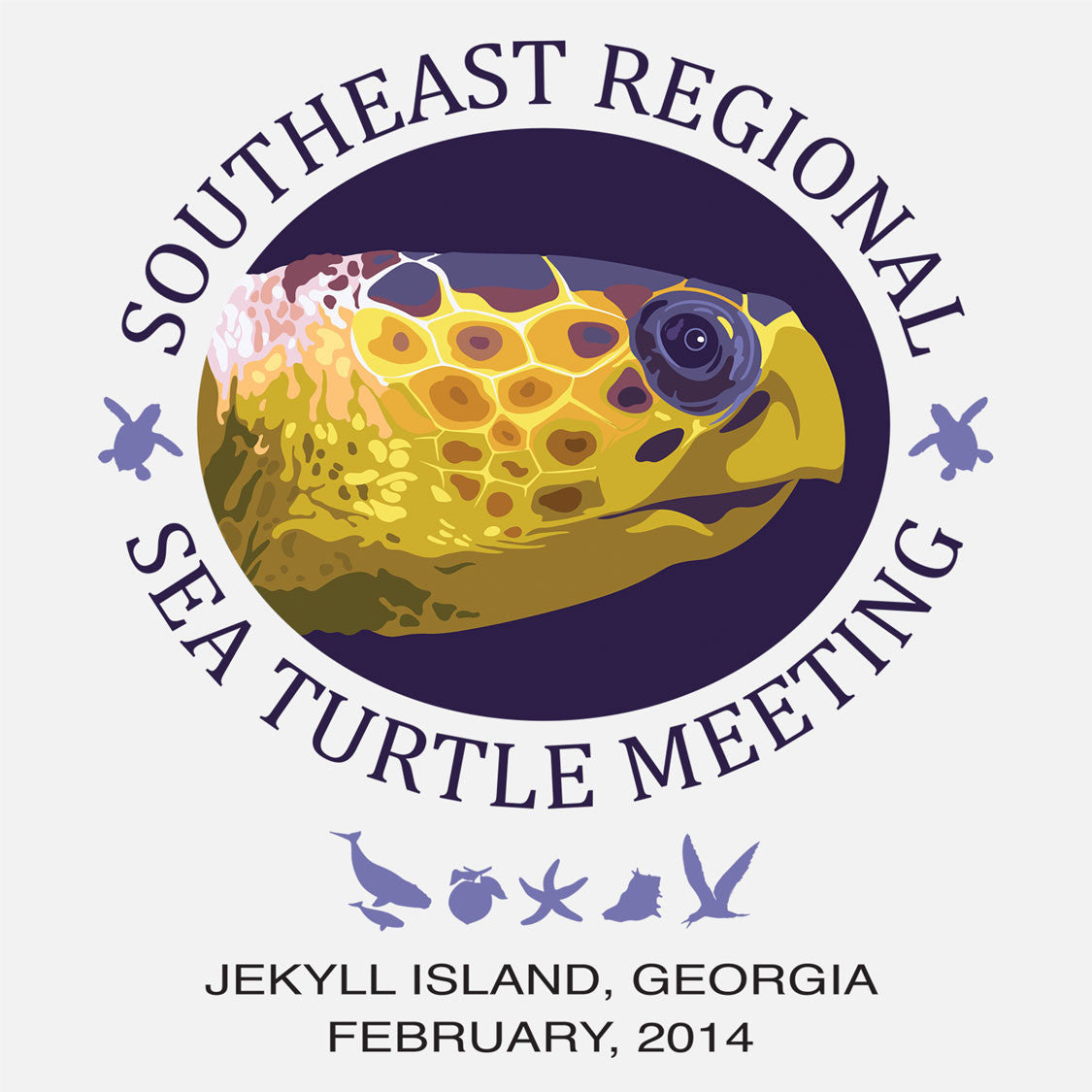 Southeast Regional Sea Turtle Meeting logo, Jeckyl Island, Georgia, 2014. The logo is a graphic depiction of a loggerhead sea turtle and Georgia ic