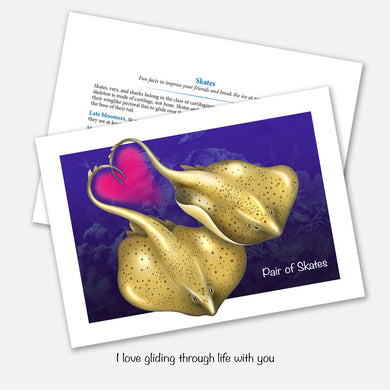 The card's image is of a pair of skates (cartilaginous fish) and a heart. Inside text: