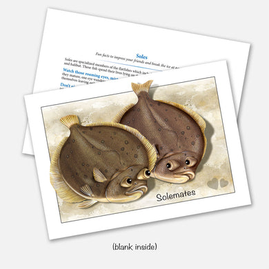 The card's image is of a pair of soles (fish) with the subhead