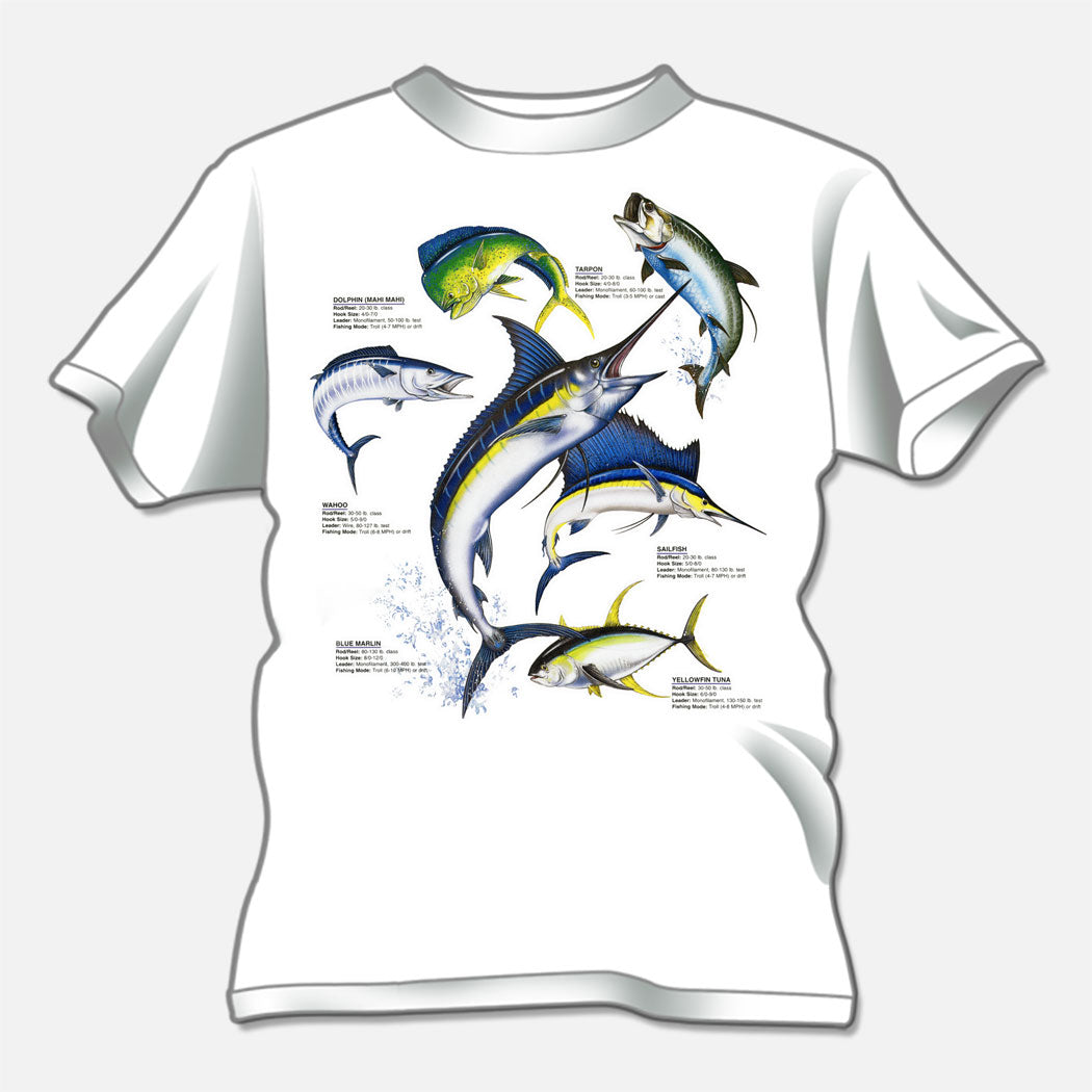 Sport fish t-shirt created for a t-shirt design studio. The design is of several sport fish identified.