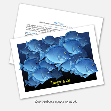 The card's image is of a group of tang fish with the tag line