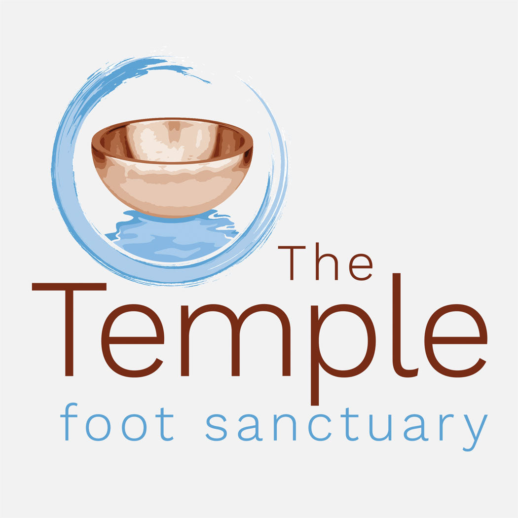 The Temple is a foot spa in Jensen Beach, Florida. The logo is a copper bowl within a loose circle.