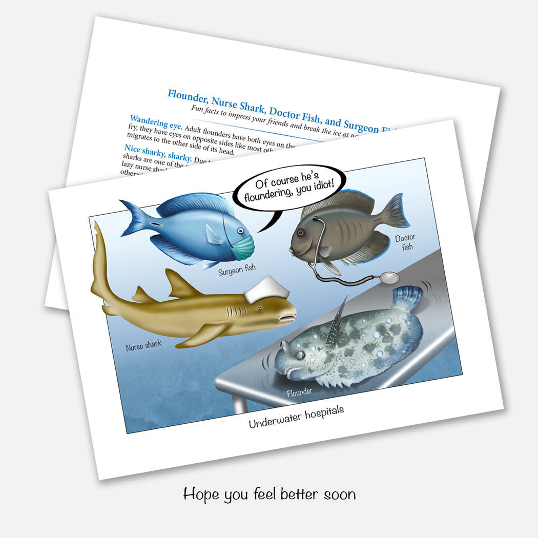 The card's design shows a doctor fish, surgeon fish, and nurse shark operating on a