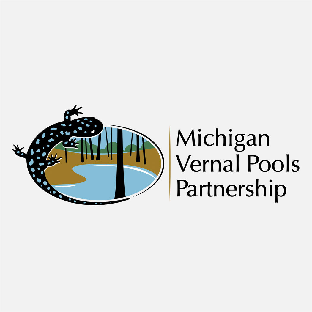 Logo for Michigan Vernal Pools Partnership. The logo is a graphic of a blue-spotted salamander over a graphic representation of a vernal pool.