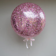 Confetti balloon - pale pink, flamingo, rose gold blend - Hello Balloons