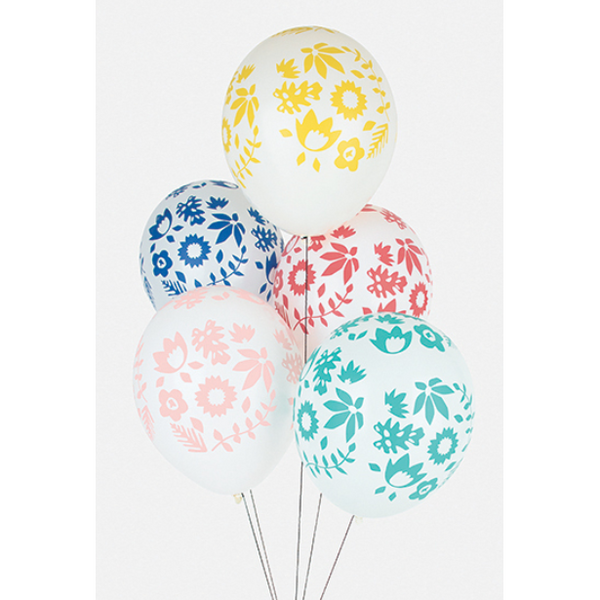 Tropical flowers printed latex balloons - Hello Balloons