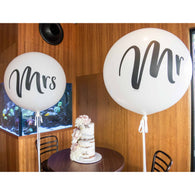 Giant Mr & Mrs round balloons - NO HELIUM INFLATION - Hello Balloons