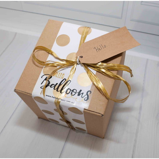 Custom Order for Emilia -Message in a box balloon - gold - Hello Balloons