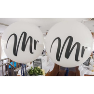 Giant Mr & Mr round balloons - NO HELIUM INFLATION - Hello Balloons