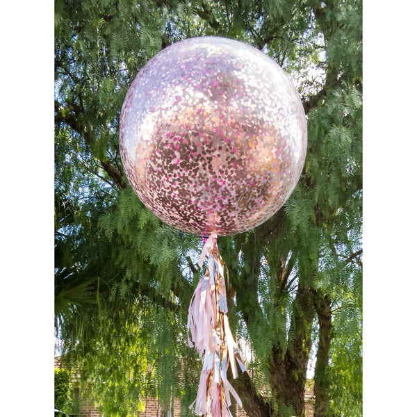 90cm confetti balloon in pinks and rose gold - HELIUM NOT INCLUDED - Hello Balloons