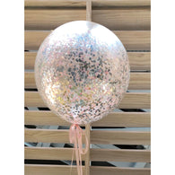 Confetti balloon - pale pink, silver, peach, white blend - Hello Balloons