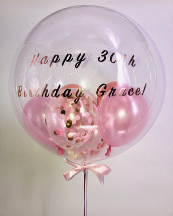 Gem Balloon - Pink / rose gold confetti ** SYDNEY DELIVERY **