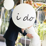 90cm white latex balloons - custom writing