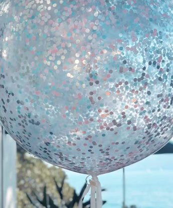 Confetti balloon - pale pink, pale blue, silver blend - Hello Balloons