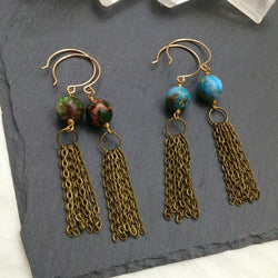 Jasper Tassel Earrings - Round