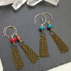 Jasper Tassel Earrings - Rondelle