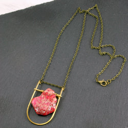 Mini Shield Necklace - Pink