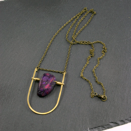 Mini Shield Necklace - Dark Purple