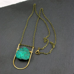 Mini Shield Necklace - Teal