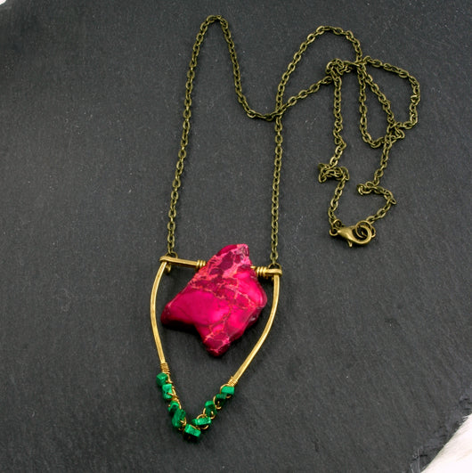 Mini Malachite Emblem Necklace - Pink