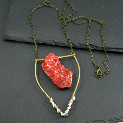 Large Howlite Emblem Necklace - Red
