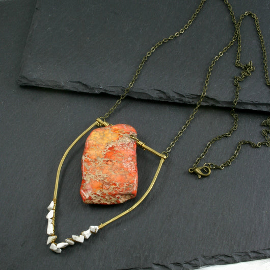 Large Howlite Emblem Necklace - Orange