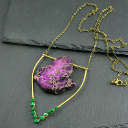Large Malachite Emblem Necklace - Dark Purple