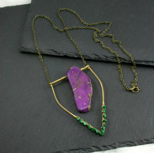 Large Malachite Emblem Necklace - Purple