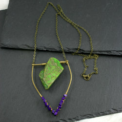 Large Lapis Lazuli Emblem Necklace - Apple Green