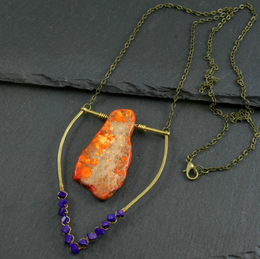 Large Lapis Lazuli Emblem Necklace - Neon Orange