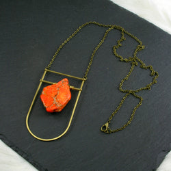 Large Shield Necklace - Neon Orange