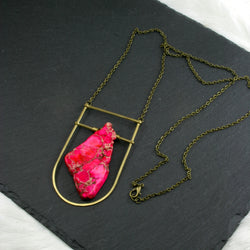Large Shield Necklace - Neon Pink