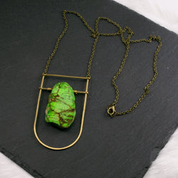 Large Shield Necklace - Green