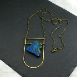 Large Shield Necklace - Blue