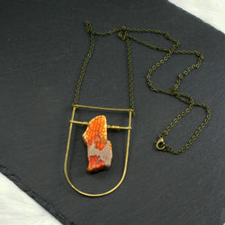 Large Shield Necklace - Orange