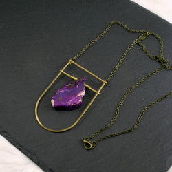 Large Shield Necklace - Purple/Indigo