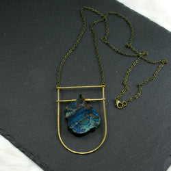 Large Shield Necklace - Dark Blue