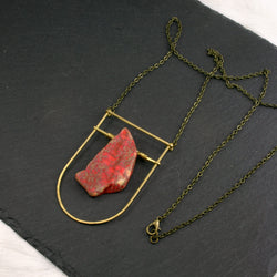 Large Shield Necklace - Light Red