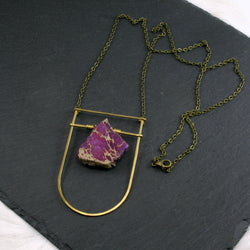 Large Shield Necklace - Purple